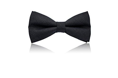 schwarze Fliege für Herren und Damen - 100% Leinen mit Geschenkbox, verstellbar - original little butler ®