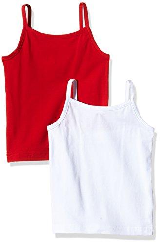 Ben & Lea Mädchen Top, 2er Pack, Mehrfarbig (Weiß/Rot), 146 (Herstellergröße: 146/152) - Spaghetti-mädchen-shirt