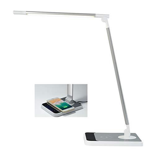 QKa LED Wireless Charging Lampada da Tavolo, Onda on/off Luce, dimmerabile Eye-Cura Lampade da Tavolo Pieghevole Tocco Desk Lamp con Porta USB 5V1A per Leggere, Studiare, Lavorare,1pack
