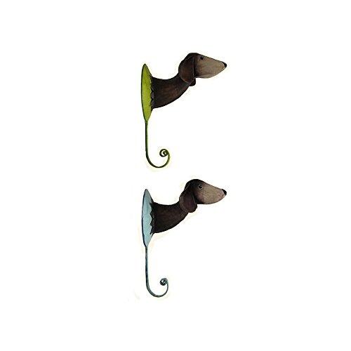 2er Set Wandhaken Hund aus Metall handbemalt je 15 cm. Kleiderhaken Kinderzimmer Garderobe
