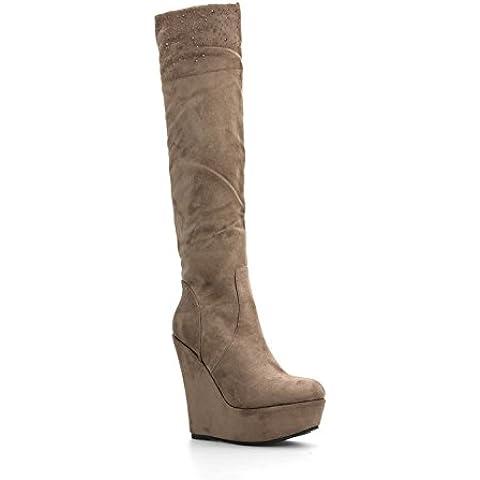 Alx Trend scarpe da donna Stivali scamosciati con zeppa e
