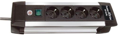Brennenstuhl 4fach Premium-Alu-Line Steckdosenleiste schwarz mit Schalter, 1391000010