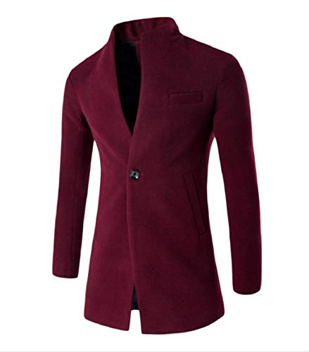 CuteRose Mens Premium Business Fitted Formal Wool Blended Trench Top Wine Red L (Double Breasted Pea Coat Dress)