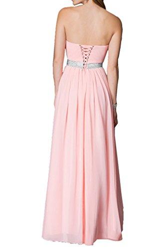 Prom Style Damen Attraktiv Traegerlos Chiffon Abendkleider Ballkleider Cocktailkleider A-Linie Lang Partykleider Tanzenkleider Grau