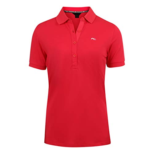 KJUS technisches Golf-Poloshirt für Damen, kurzärmlig, Baumwoll-Polyamid-Mischgewebe, Größen, rot, Medium -