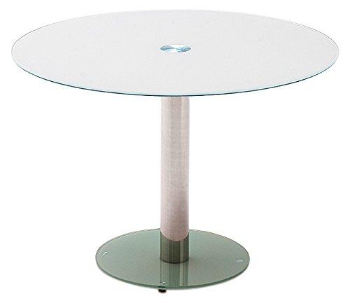 Robas Lund, Tisch, Esszimmertisch, Glastisch, Falko, weiß/verchromt, 100 x 77 x 100 cm, FA10EPGW