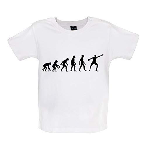Baby T-Shirt - Evolution of Man - Diskuswurf - 8 Farben - 3-24 Monate - Weiß - 12-18 Monate -