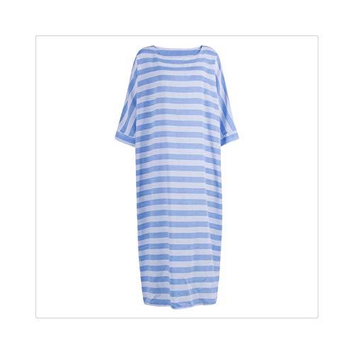 Women Long Sleeve O Neck Loose Dress Sundress Casual Loose Stripe Dress Plus Size M-XXXL Sky Blue XL - Eliza Stripe