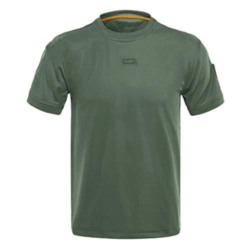BURFLY Sommer Herren Oberteile, Männer Mode Lose Rundhals Plus Größe Kurzarm Elastische Schnelltrocknend Training T-Shirts Tops - Split-baumwoll-mischung