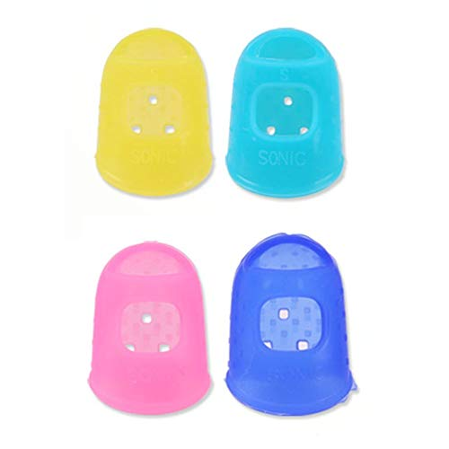 4 in 1 Guitar Fingerstall Silicone Left Hand Finger Guard Fingertip Protecting red, yellow, light blue, deep - Hand Multi Tip