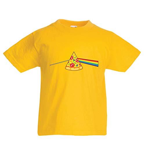 lepni.me Kinder Jungen/Mädchen T-Shirt Pizza in der bunten Regenbogenstimmung, Lebensmittelliebhabendesign (3-4 Years Gelb Mehrfarben)