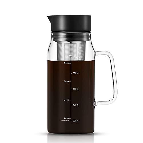 soulhand Kaffeemaschine, luftdicht, für Eiskaffee, Tee, Eistkaffee, Tee-Ei mit Ausgießer, Herausnehmbarer Edelstahl-Filterkorb für Eistkaffee Tee