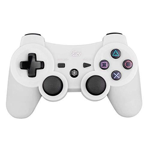 Kabi Bluetooth Wireless Controller für PS3 Controller Doppelschlag Gamepad 6-achsen Game Controller für Playstation 3 Bonus Freies Ladekabel Weiß
