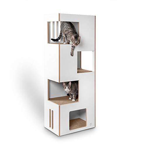 CanadianCat Company | Cat Castle L 2.0 Kratzmöbel | Natur-weiß mit beigem Filz | der Andere Kratzbaum !