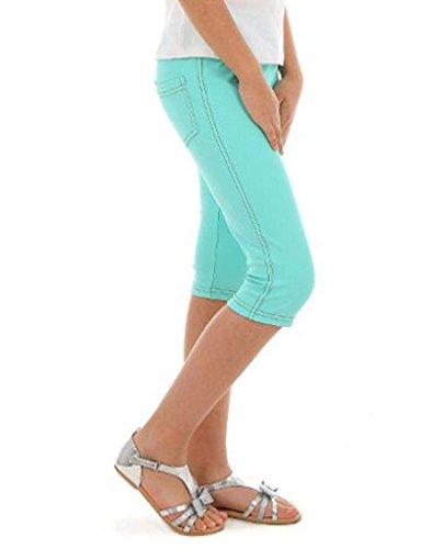 Dykmod Mädchen Leggings Leggins Jeans-Optik 3/4 Capri Frühling Sommer hk337 128 Minze