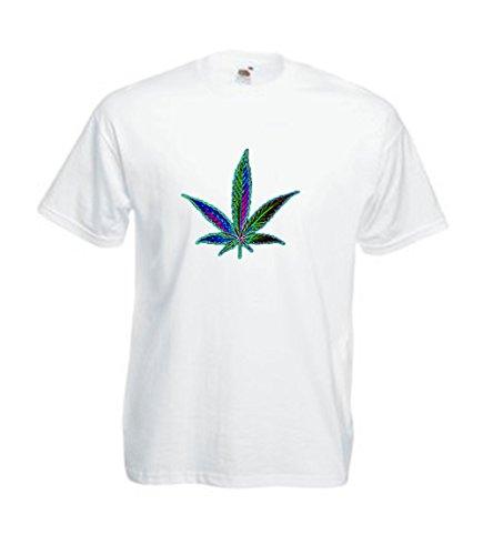 MFAZ Morefaz Ltd Herren Und Damen T-Shirt Cannabis Leafes Ganja Weed THC Men/Ladies Rasta Kurzarm Shirt 420 (White T-Shirt Leaf Rainbow New, S)