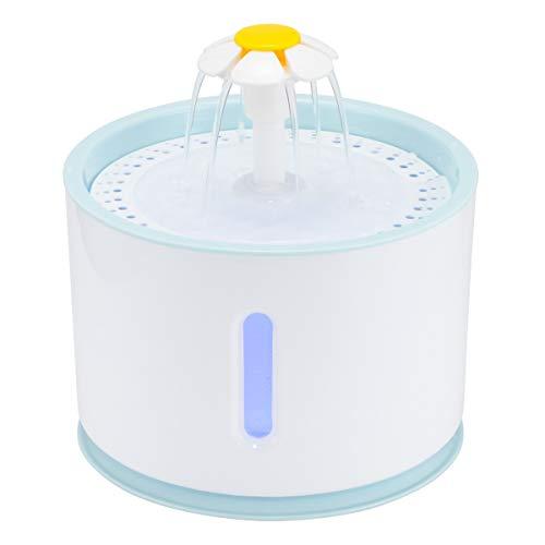 PQZATX 2.4L Automatische Katze Wasser Brunnen Led Elektrische Stumm Wasser Zufuhr USB Hund Haustier Trinker Schüssel Haustier Trink Spender Für Katze Hund Wei? + Blau (Wasser-hund-schüssel Automatische)