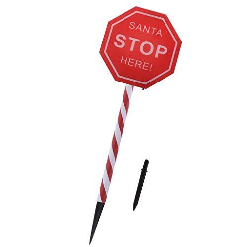 Rot Solarleuchte Solarllicht Gartenleuchten Weihnachten Leuchte mit Santa Please Stop Here Zeichen, aus Plastik