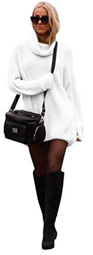Damen Strickpullover Sweater Rollkragen Pullover Jumper Strick Pulli Oversize (648) (Weiß)
