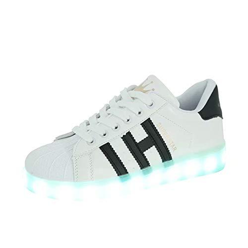 Bruce Lin-UK Damen Jungen Mädchen LED Schuhe Blinkende Leuchtschuhe 7 Farbe USB Aufladen LED Sportschuhe Farbwechsel Light up Low Top Sneaker Turnschuhe