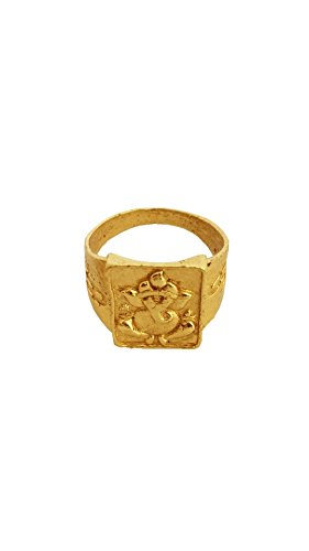 Rich & Famous Menjewell Classic Collection Gold Lord Ganesha In Square-shape Design Ring For Men & Boys