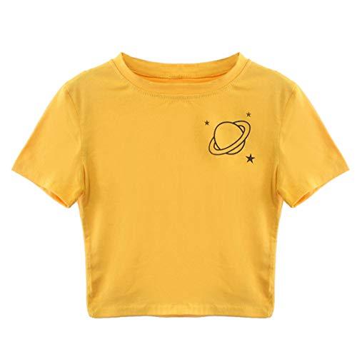RYTEJFES T-Shirt Damen Tumblr Große Größen Kurzarm-T-Shirt mit Rundhalsausschnitt für Damen Lässige Top-Bluse Süß Gelb Baumwollshirt mit Turn-Up Ärmeln (Yellow B, S) (Ray Halloween 4 Uk Blu)
