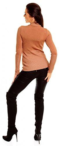 Zeta Ville - Damen Basic Feinstrick Pullover Oberteil Top langen Ärmeln - 906z Cappuccino
