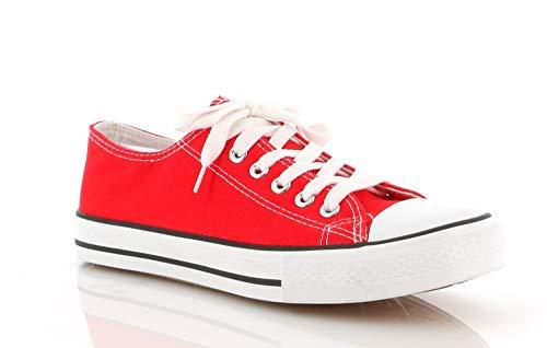 Chaussure De Sport Mixed Adult - Basket Plate - Sneakers Basse Lacets Femme-Homme-Adolescent-Enfant, Rouge, 44 EU