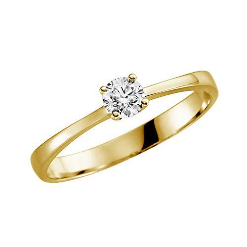 Juwelier Rubin Damen-ring Verlobungsring Gelbgold Weißgold Weissgold 585 Gold 14 Karat Stein Zirkonia Brillantschliff Solitär Heiratsantrag Goldring Geschenke (14 Karat (585) Gelbgold, 53 (16.9)) (14k Ringe Schmuck Gold)