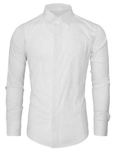 HRYfashion -  Camicia da cerimonia  -  Vestito modellante  - Classico  - Maniche lunghe  - Uomo Bianco