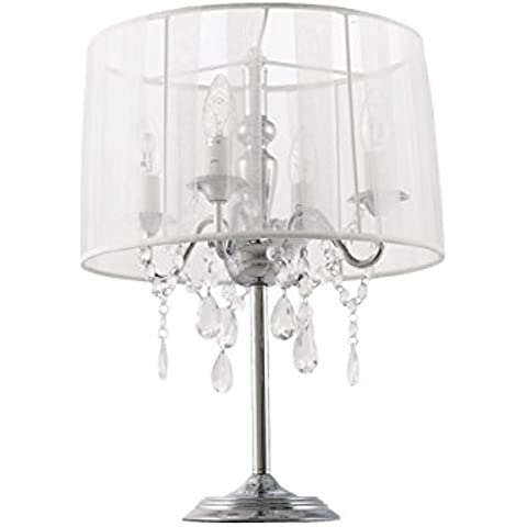 Lámpara de mesa Design costes en tejido, acero, blanco, E14 25 wattsW