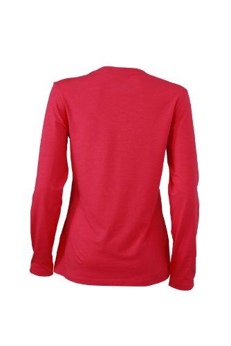 James & Nicholson Damen T-Shirt Langarmshirt Ladies Stretch V Shirt Long Sleeve Pink