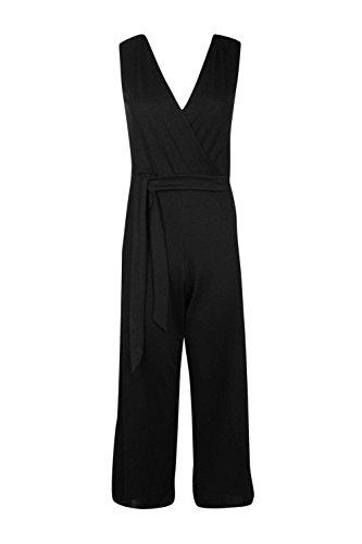 Noir Femmes Mia Emballage Avant Belted Culotte Jumpsuit Noir