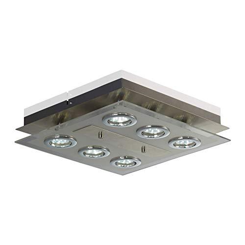 B.K.Licht - Lámpara plafón LED de forma cuadrada con 6 focos, con alta luminosidad para interior...