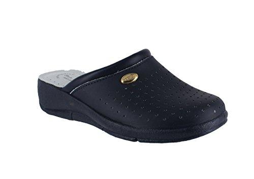 Marine-blau-leder-heels (San Malo San Malo, Damen Clogs & Pantoletten  blau navy)