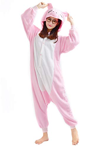 Unisex Kigurumi Jumpsuit Tier Pyjamas Kostüm Fasching Onesie Damen Herren Karneval Cosplay Nachtwäsche, Rosa Schwein