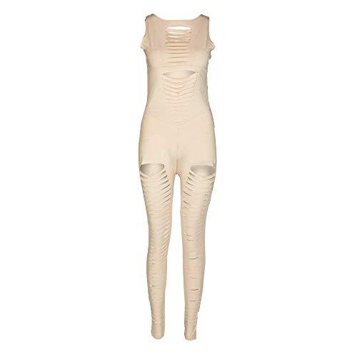 Solid Color-leggings (Guajave Damen Yoga Overalls Solid Color Hohl Elastisch Atmungsaktiv Enganliegend Leggings für Fitness - Beige, L)