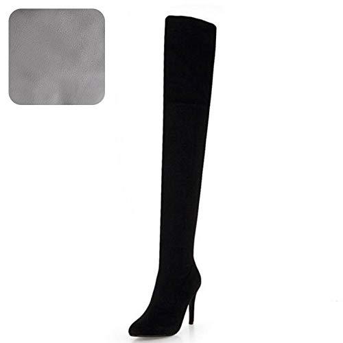 4b9c7f8e6b3335 HAOLIEQUAN 4 Colors Size 33-48 Woman High Heel Boots Winter Shoes Zipper  Pointed Toe
