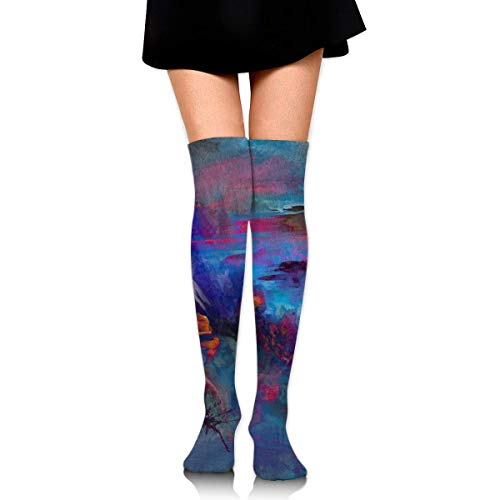 Abstract Wolle (CVDGSAD Women Crew Socken Thigh High Knee Abstract Nature Long Tube Dress Legging Sport Compression Stocking)