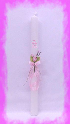 SONAJERO DE Fieltro Y CIG/ÜE/ÑA Adhesiva Medida 3 x 40CM Decorada con Lazo Vela para Bautizo DE Cera Blanca Rosa