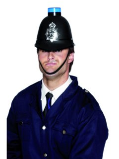 Karneval Kostüm Zubehör Polizei Helm mit Blinklicht Polizist Bobby (Die Britische Polizei Kostüm)