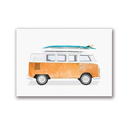 dayanzai Van Oldtimer Vintage Surf Print Mädchen Junge Zimmer Wand Dekor Bus Surfbrett Fahrzeug Wand Kunst Leinwand Gemälde Aquarell Bild-50x70cm-Kein Rahmen