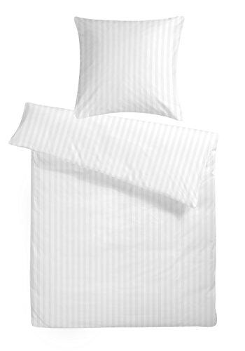 Carpe Sonno Luxuriöse Damast-Bettwäsche in exklusiver Hotelqualität 135 x 200 cm Weiß aus 100% Baumwolle für besten Schlafkomfort - Hotel-Bettwäsche Set mit Kopfkissen-Bezug und edlen Damast-Streifen -