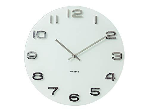 Karlsson ka4402 orologio da muro vintage tondo, bianco