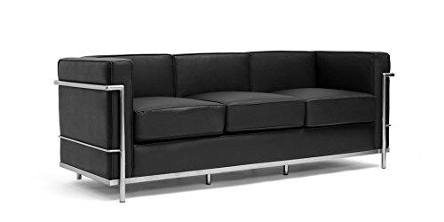 Eglemtek divano valencia in pelle imbottito e struttura in acciaio, per hotel casa ufficio soggiorno salotto studio - disponibili in 2 colori (nero, 3 posti)