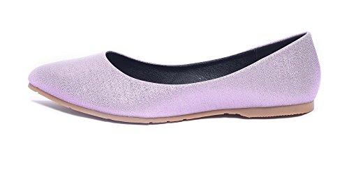 AalarDom Damen Spitz Zehe Ziehen Auf Ohne Absatz Mikrofaser Flache Schuhe Pink-Zusammenklappbar