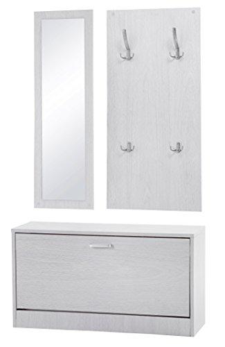ts-ideen 3er Set Garderobe Spiegel Schuhkipper Schuhschrank Sitzbank in weißer Holzoptik