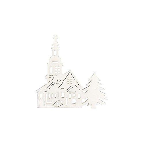 Kirchen aus Holz, weiß, 7,5cm x 7,9cm x 0,3cm, 16 Stück | Dekoration für Weihnachten, Advent, Winter, Weihnachtsbaum, Tannenbaum, Christbaum | DIY, Handwerk, Holzarbeiten, Holzdekoration