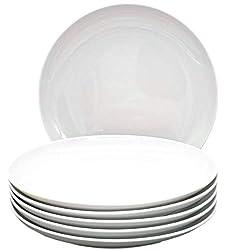 Kahla 39F192A90039C Five Senses Porzellangeschirr Tellerset für 6 Personen XXL Porzellan Teller 6-teilig Speiseteller flach Teller rund weiß Essteller ohne Dekor