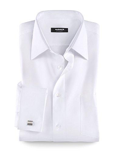 Walbusch Herren Hemd Bügelfrei-Hemd Umschlagmanschette, Langarm Kent-Kragen, Comfort Fit, einfarbig Weiß Gr. 49/50